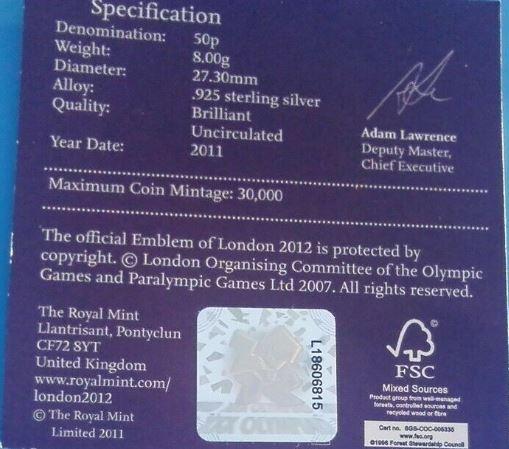 2011 football 50p silver proof coa