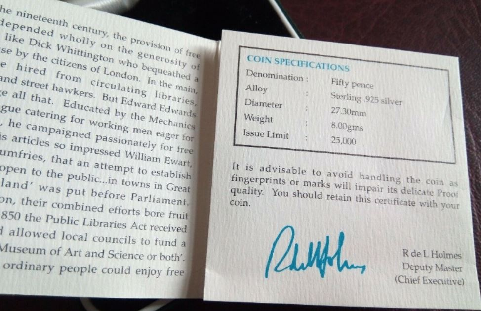 Public Libraries Certificate of Authenticity Inside