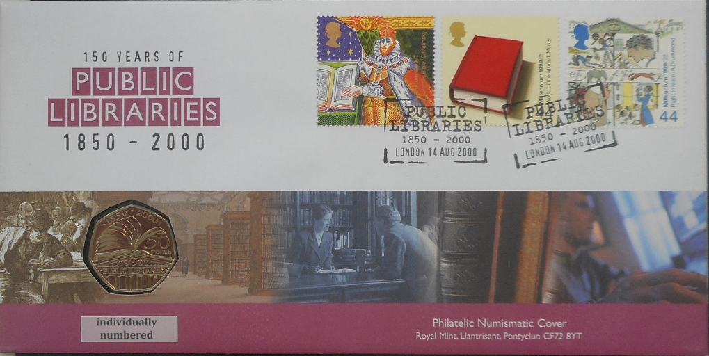 Public Libraries 50p BU FDC