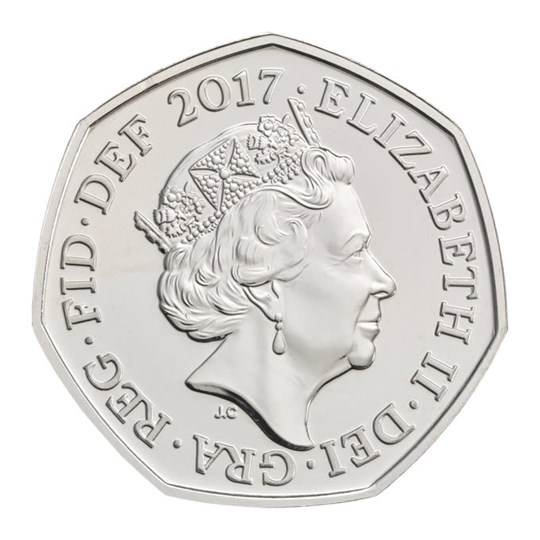 Sir Isaac Newton 2017 UK 50p Brilliant Uncirculated Coin Obverse