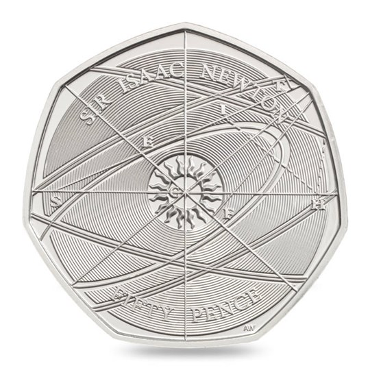 Sir Isaac Newton 2017 UK 50p Brilliant Uncirculated Coin reverse