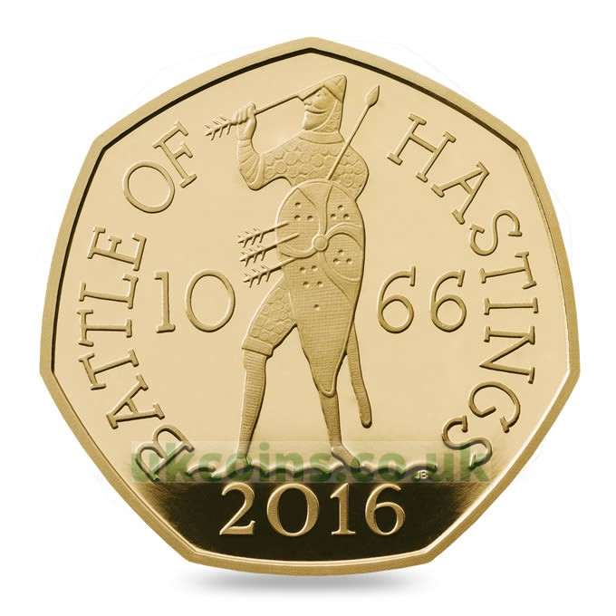 battle of hastings gold proof coin 2016 reverse