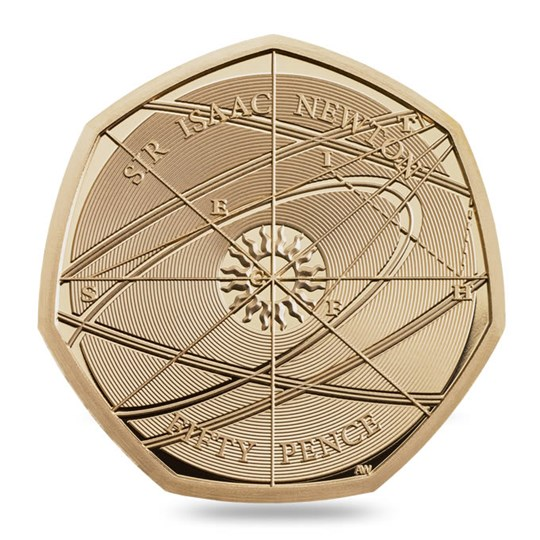 Isaac Newton 50p Gold Proof Coin Reverse 2017