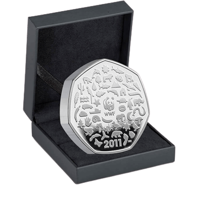 WWF 50p Silver Proof Piedfort Coin
