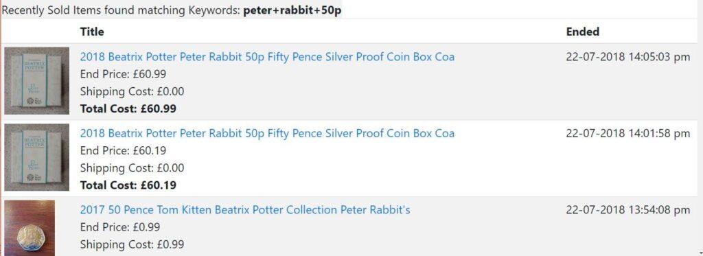 eBay price history example