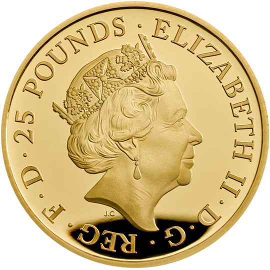 Falcon of the Plantagenets 2019 UK Quarter-Ounce Gold Proof Coin Obverse