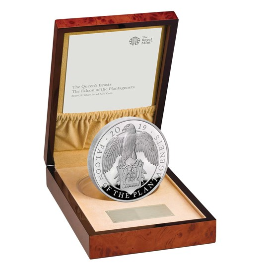 Falcon of the Plantagenets 2019 UK Silver Proof Kilo Coin