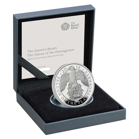 The Falcon of the Plantagenets 2019 UK One-Ounce Silver Proof Coin box