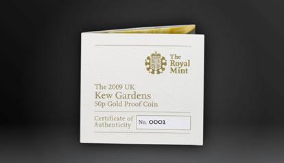 2009 Kew Gardens 50p Gold Proof Coin COA