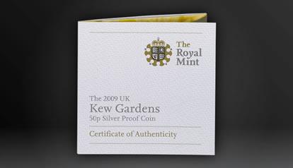 2009 UK Kew Gardens 50p Silver Proof COA