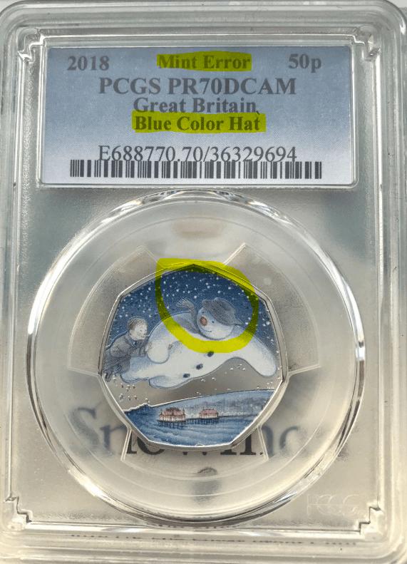 PCGS Snowman 50p Error Coin