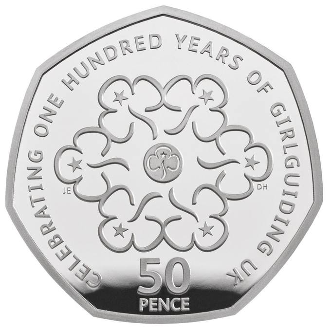 girl guiding 50p 2019 silver proof