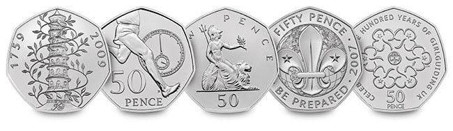 50 years of the 50p bunc coin set