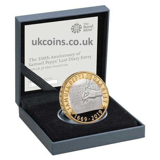 Samuel Pepys 2 pound silver proof