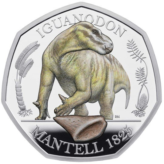 iguanodon 50p silver proof coloured coin