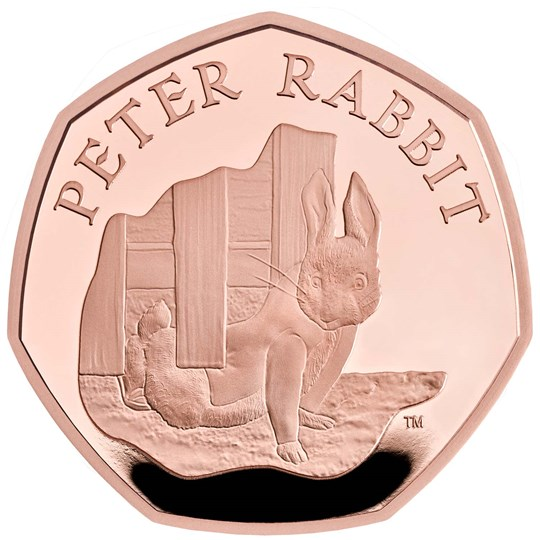 peter rabbit 50p gold coin