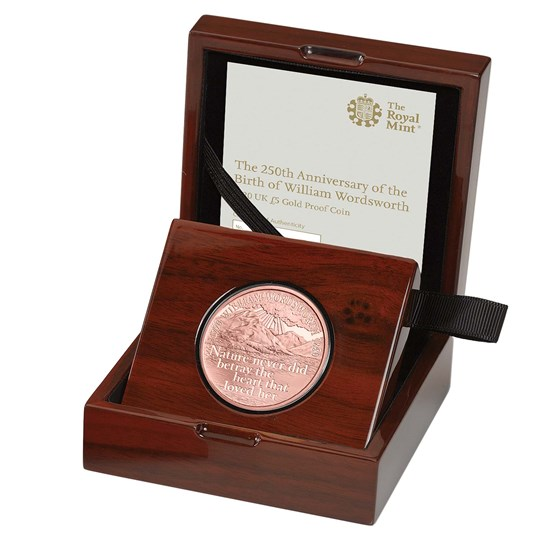 William Wordsworth 2020 Gold Proof Coin in Box