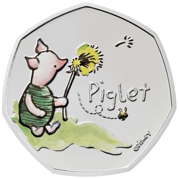 Piglet 50p Brilliant Uncirculated Colour Coin