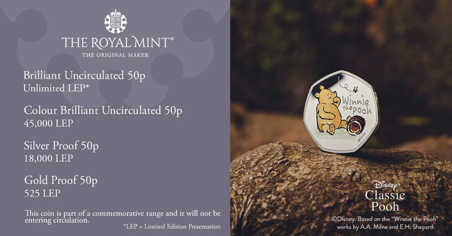 winnie the pooh coin mintage figures