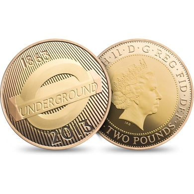 London Underground 2013 UK £2 Gold Proof Roundel Coin