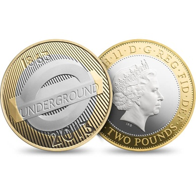 London Underground 2013 UK £2 Silver Proof Roundel Coin