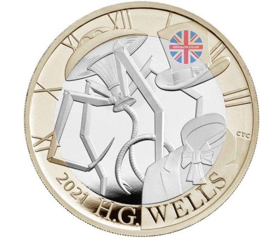 HG Wells Two Pound Coin 2021